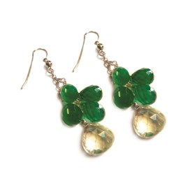 Green Onyx Berry Briolette Earrings