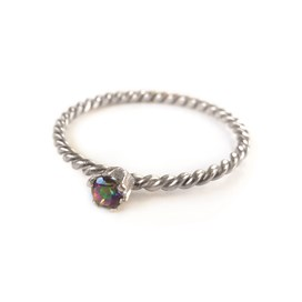 Mystic Topaz Sterling Silver Twist Ring