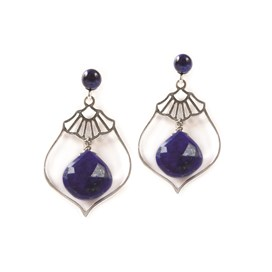 Lapis Vintage Art Deco Earrings