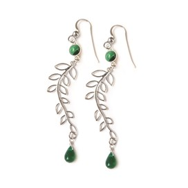 Green Onyx Willow Earrings