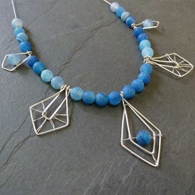 Ocean Agate Geometric Necklace