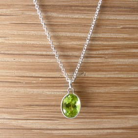 Silver Peridot Necklace
