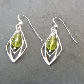 Geometric Peridot Earrings