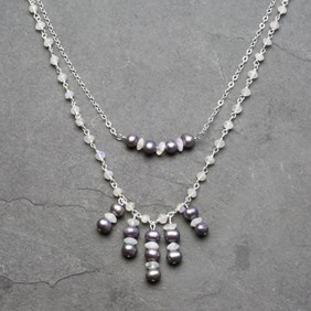 Moonstone and Pearl Double Layer Necklace