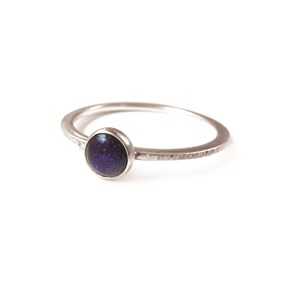 Blue Goldstone Bezel Cup Ring