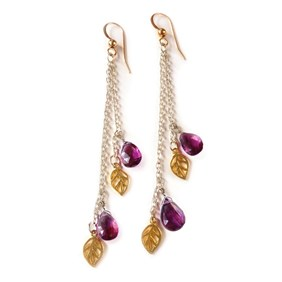 Rhodolite Garnet Leaf Drop Earrings