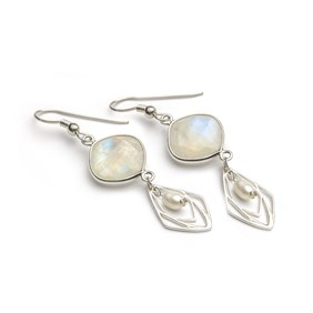 Moonstone & Ice Crystal Earrings