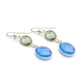 Labradorite & Chalcedony Bezel Connector Earrings