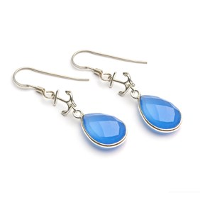 Blue Chalcedony Nautical Earrings