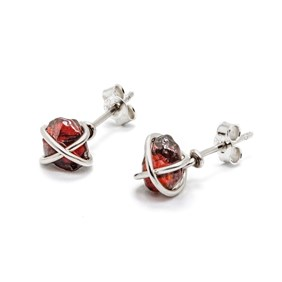 Anthill Garnet Wire Wrap Stud Earrings
