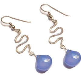 Blue Chalcedony Silver Stream Drop Earrings